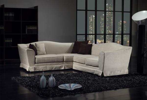 neptune canap d 39 angle en tissu blanc. Black Bedroom Furniture Sets. Home Design Ideas